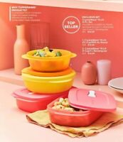 TUPPERWARE CRYSTALWAVE PLUS 4 PC SET MICROWAVABLE STEAM VENT W STAIN GUARD NEW
