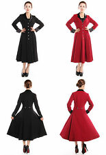 Gothic Coat Victorian Vintage Gypsy Long Fitted Frock Style Coat Black /Red N76