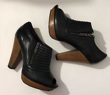 MISS SIXTY Peep Toe Side Zip Leather Bootie Pump Heels Womens Shoes 8.5