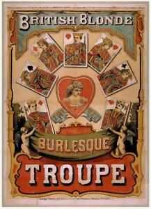 British Blonde Burlesque Troupe Illustrated c 1870   Vintage Poster   A1, A2, A3