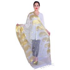 Bollywood Scraf Latest Dupatta White & Gold Long Scarf Shawl Womens Scarves