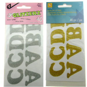 Iron On Glitter Letters in Gold or Silver - 40 pcs (8811)