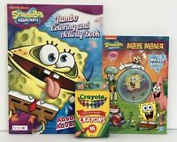 3 Sponge Bob Square Pants Jumbo Coloring Activity & Maze Books and Crayons