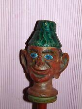 ECEPTIONEL Marionnette c1880 GRANDE TETE  bois scultpee s.tige BOIS HANDpuppet 5