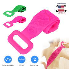Silicone Back Scrubber Body Cleaning Massage Tools Bath Belt Double-Sided Brush