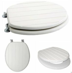 White Wooden Toilet Seat Tongue & Groove Chrome Plated Hinges Fitting Included