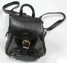 * GIANNI VERSACE * Vintage 1994 Black Leather Medusa Logo Embossed Backpack Bag