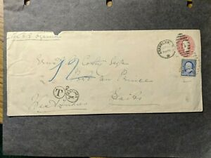 "1892 Steamship SS OJAMA Naval Cover POSTAGE DUE ""T"" to Port au Prince, HAITI"