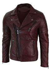Mens Slim Fit Cross Zip Brando Washed Leather Jacket Black Brown Tan Burgundy