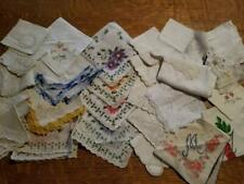 Huge Lot 27 Vintage Cotton Hankies Flower Embroidered Pierced Lace Shabby Chic