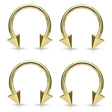 4 lot GOLD Plated CONE Circular Horseshoe Ring Barbell Ear Nose Piercing JEWELRY