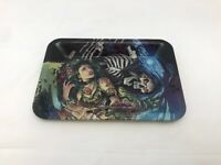 """5.5""""x 7"""" skull and woman at night Rolling Tray Tobacco Smoke Cigarette rolling"""