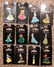 Disney Glitter Dress Princess 12 Pin Set  Belle Ariel Jasmine Brave Tangled Snow