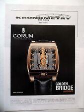 PUBLICITE-ADVERTISING :  CORUM Golden Bridge  2014 Montres,Kronometry