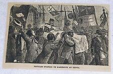 1882 magazine engraving ~ OVATION TO GARIBALDI at Genoa, Italy