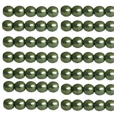 Czech 4mm Glass Beads Pearls Sage Green C8085 Round Shiny