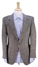 RUBINACCI Napoli Thick Heavy Brown Donegal Tweed 2-Btn Patch Pocket Blazer 36S