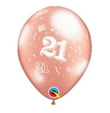 Party Supplies Birthday 21st Twenty One 28cm Metallic Rose Gold Balloons Pk 10