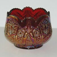 Indiana Glass Heirloom Sunset Ruby Red Carnival Glass Hobstar & Arches Design