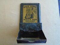 Rare Vintage Safe Home Match Box Holder