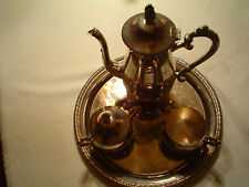 VINTAGE   ELEGANCE 5 PC. SILVER PLATE ON BRASS TEA SET  FREE SHIPPING