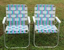 2 VINTAGE MATCHING ALUMINUM Folding LAWN CHAIRS Pink, Blue, Purple, Teal & White