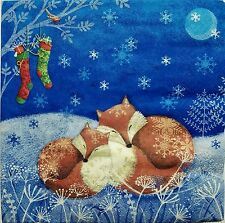 FOXES  WINTER 2 individual  LUNCH SIZE paper napkins for decoupage 3-ply