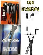 AURICULAR Con MICROFONO VIBE SLICK ZIP NEGRO --- CABLE CREMALLERA ---