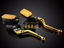 Gold Clutch Brake Levers Master Cylinder Kit Reservoir For Suzuki GSXR1000 07-08