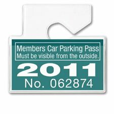 Horizontal Car Parking Pass Permit Holder -Clear Plastic Rear View Mirror Hanger