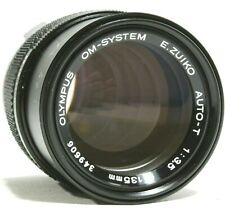 Olympus OM E-Zuiko Auto T 135mm F3.5 Prime Lens with Case UK Fast post