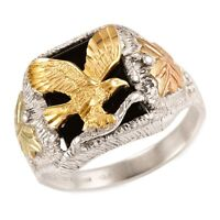 Mens Black Hills Gold and Sterling Silver Eagle Ring with Onyx Size 9 to 14