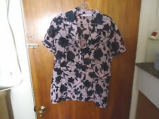 "Womens Sag Harbor L Pink & Black See Through Short Sleeve Floral Top "" BEAUTIFUL"