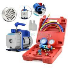 R134 HVAC AC Manifold Gauge Set Kit Refrigerant+ 3CFM 1/4HP Electric Vacuum Pump