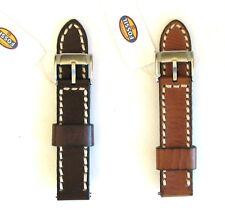 Neuf Fossil 22MM Cousu Véritable Bracelet en Cuir,Bracelet+ Acier Inoxydable