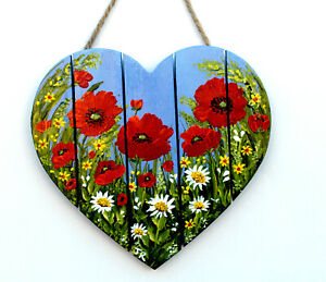"""Original Painting on MDF Plaque: Unique Gift: """"Poppy Heart"""" by Judith Rowe"""