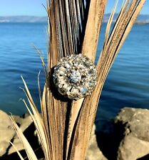 Gorgeous Antique 1920's-30's Clear Rhinestone Faceted Stones Brooch Pin Large