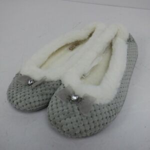 free step Fur Lined Ballet Pump Lovely Fury Slippers white n GREY *NEW*