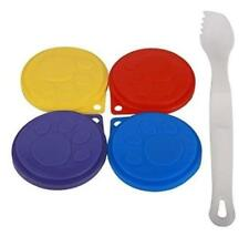 4 Pet Food Can Covers With Serving Spoon Fork Reusable Lid Caps Dog Cat Cover