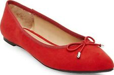New Retro Vintage Merona Cherry Red Faux Suede Bow Pointed Toe Ballet Flats 10