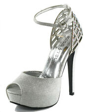Silver Black Champagne Platform Peep Toe Ankle Strap Heels Pumps Sandals Shoes