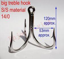 14/0 Stainless Steel Welded Treble Fishing Hooks Trolling Triple S/S Large Hooks