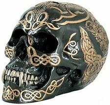 Black and Gold Color Celtic Pattern Skull Statue Figurine