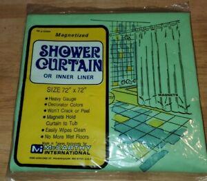 Vintage Light Green Vinyl Shower Curtain Magnetized Bottom Bathroom Decor - NEW