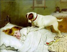 Jack Russell and Little Girl Wake Up Dog Puppy Dogs Puppies Vintage Poster Print
