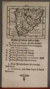 SOUTH AFRICA 1702 MÜLLER UNUSUAL ANTIQUE COPPER ENGRAVED MINIATURE MAP