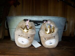 TODDLER ANIMAL THEME INFANT SLIPPERS SIZE 4 COLOR TAN KIDS SHOES FABRIC SOLE NEW