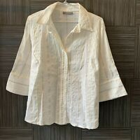 Jacqui E Womens Cream Striped 3/4 Sleeve Button Up Blouse Size 18