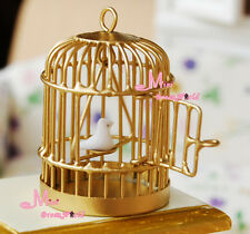 Toy Metal Bird Gold Cage W/ White Bird 1/12 Dollhouse Miniature