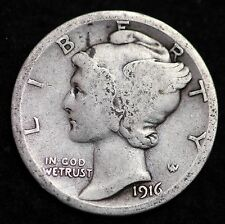 1916-S MERCURY DIME / CIRCULATED GRADE GOOD / VERY GOOD 90% SILVER COIN